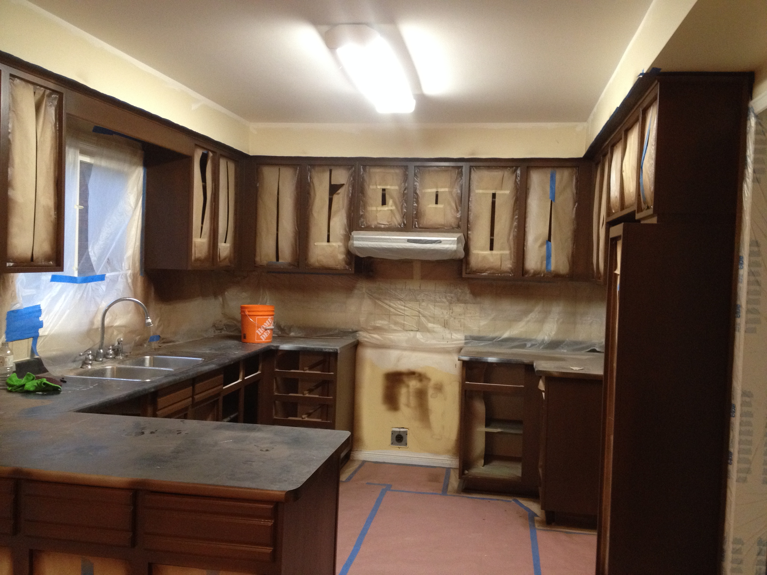 Spary Painted Kitchen Cabinet Carcasses