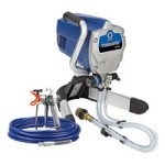 A small airless pump sprayer like this Graco Tradeworks 150 can be used paint exterior brick surfaces.