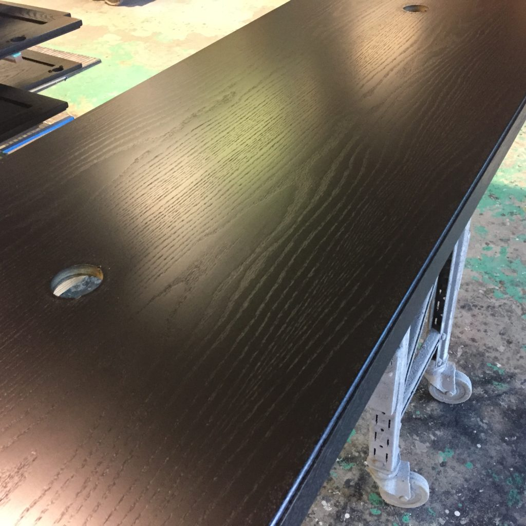 Solid Oak Spray Painted Black